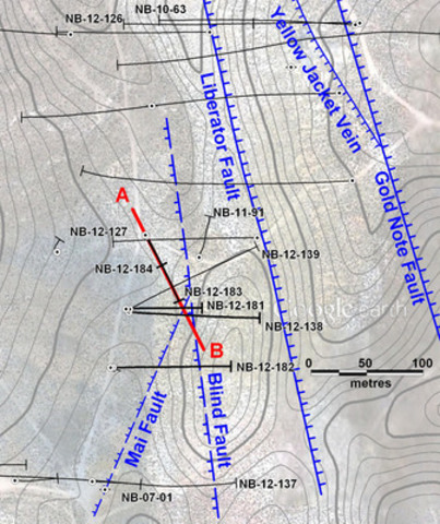 Figure 1: Plan of the Yellow Jacket zone showing the major structures and the drill holes related to the discovery of the high-grade vein system. (CNW Group/Corvus Gold Inc.)
