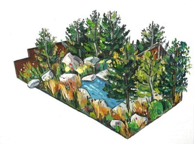 Interprétation du jardin banque Royale du Canada aux floralies 2017 de la Société royale d'horticulture à Chelsea. Par Sarah Jane Moon (Groupe CNW/RBC Groupe Financier)