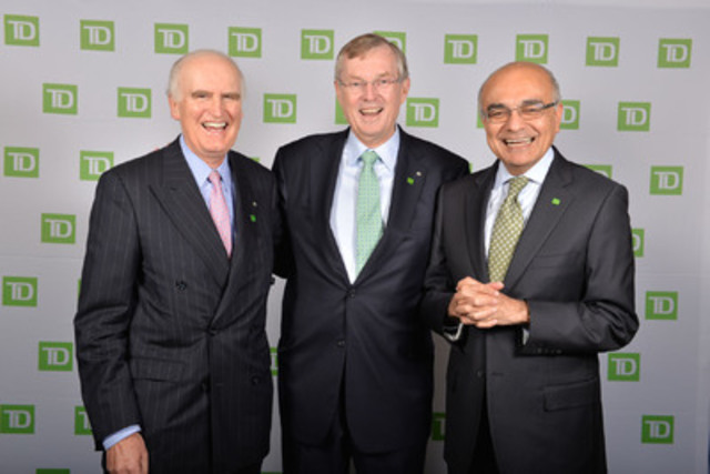 (De gauche à droite :) Le leadership de la TD - les chefs de la direction passé, actuel et futur; Charles Baillie, Ed Clark et Bharat Masrani (Groupe CNW/Groupe Banque TD)