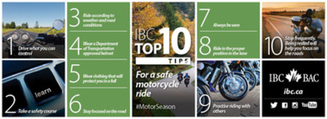 IBC Top 10: Tips for a safe motorcycle season (CNW Group/Insurance Bureau of Canada)