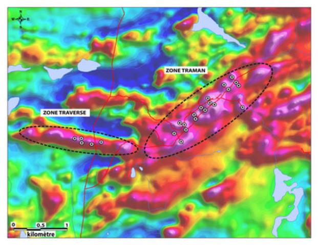Levé magnétique aéroporté montrant les anomalies associées aux Zones TraMan et Traverse. (Groupe CNW/Arianne Phosphate Inc.)