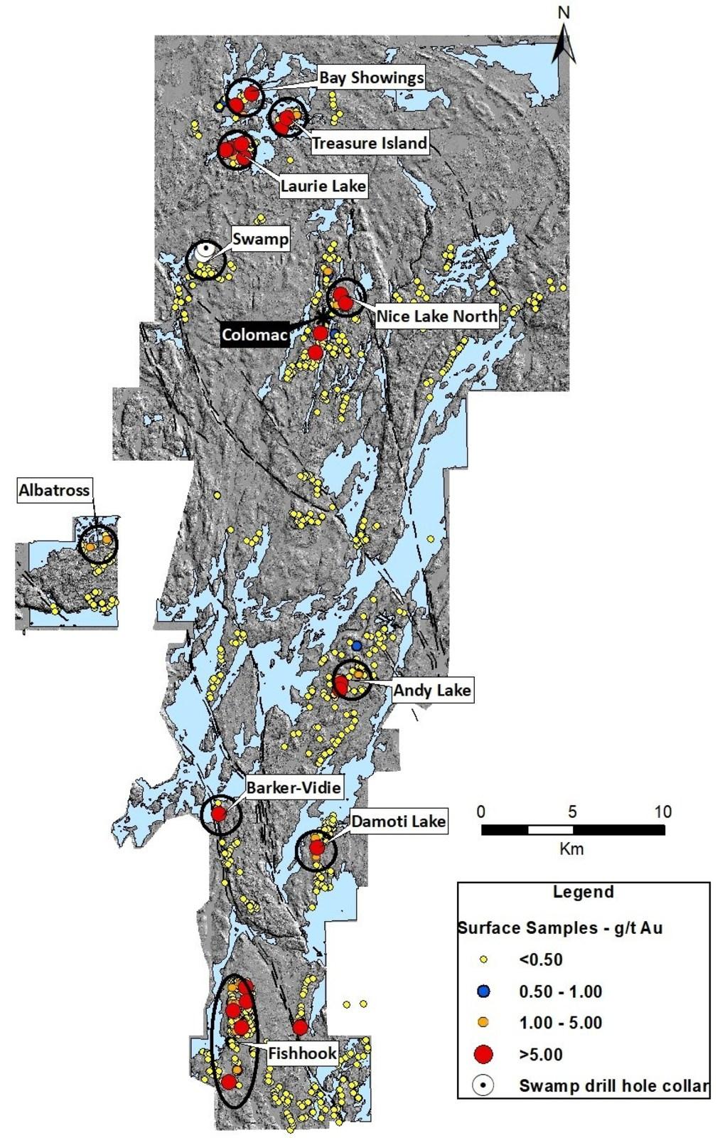Figure 1. Indin Lake Gold Property – 2018 Field Program Top Prospects