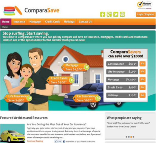ComparaSave is dedicated to helping Canadians save money by providing the lowest insurance and mortgage rates available from its trusted partners. And, you can compare credit cards to find the right card for you! By using ComparaSave, you'll have access to competitive rates - all in one place! (CNW Group/InsuranceHotline.com)