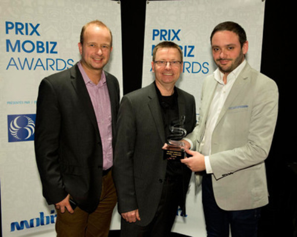 Mobiz BUSINESS Award - Technology: Damien Lefebvre from w.illi.am, Yvon Théorêt, Director of Technologies at Ingenio, and Matyas Gabor from w.illi.am. (CNW Group/LOTO-QUEBEC)