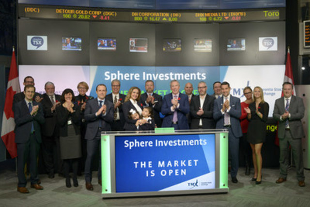 Lewis Bateman, Founder and CEO, Sphere Investments, joined Dani Lipkin, Business Development, Exchange Traded Funds, Closed-End Funds, and Structured Notes, TMX Group to open the market to launch Sphere FTSE Emerging Markets Sustainable Yield Index ETF (SHZ). Sphere Investments is a wholly-owned subsidiary of Sphere Exchange Traded Investments Ltd. As of September 30, 2016, Sphere has four Exchange Traded Funds listed on TSX, with a total market capitalization of $11.7 million. SHZ commenced trading on Toronto Stock Exchange on October 5, 2016. (CNW Group/TMX Group Limited)