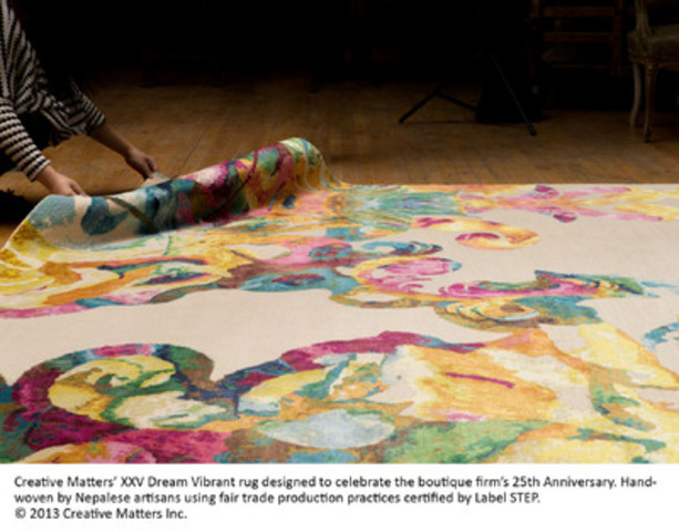 Creative Matters' XXV Dream Vibrant rug designed to celebrate the boutique firm's 25th Anniversary. Hand-woven by Nepalese artisans using fair trade production practices certified by Label STEP. © 2013 Creative Matters Inc. (CNW Group/Hope Communications) (CNW Group/Creative Matters Inc.)
