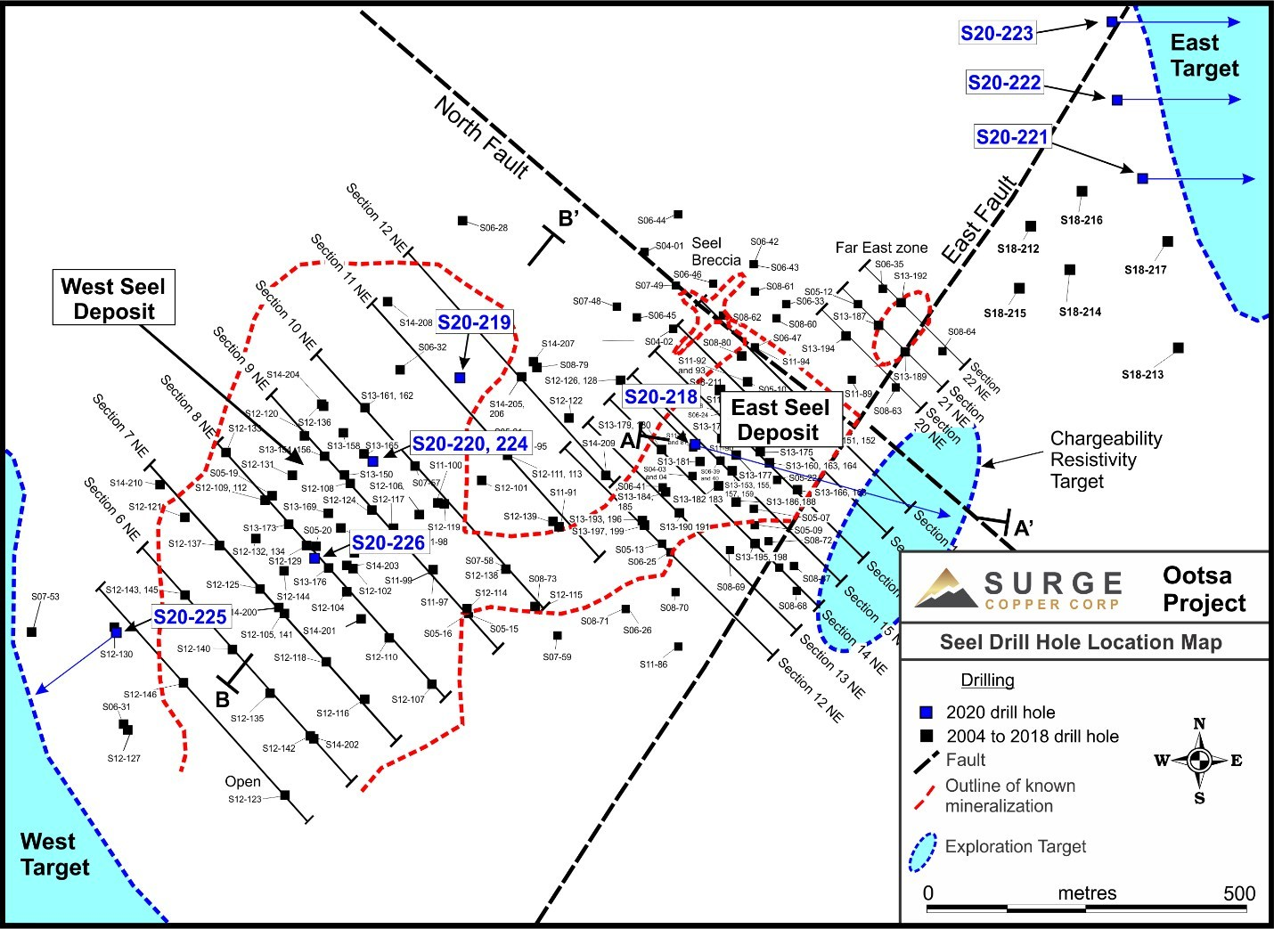 Figure 1: Seel Drill Hole Location Map (CNW Group/Surge Copper Corp.)