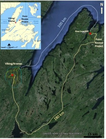 Exhibit A:  A satellite image of northwest central Newfoundland showing the location of the Point Rousse Project and the Pine Cove Mill in relation to the Viking and Kramer properties. (CNW Group/Anaconda Mining Inc.)