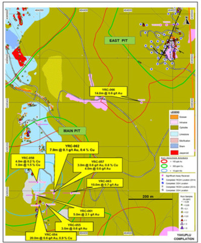 Figure 11: Plan showing location of key assay results from drilling at Yakuplu pits in 2014 (CNW Group/Alacer Gold Corp.)
