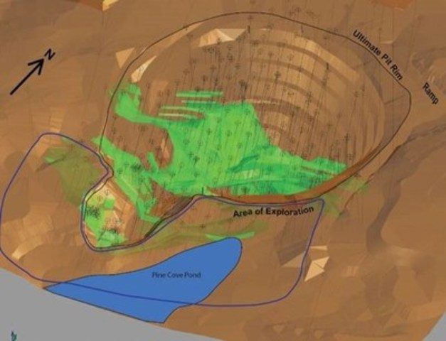 Exhibit A - Figure 1.  A map of the Pine Cove mine highlighting the Pine Cove Pond area planned for the fall exploration program.  The pit is approximately 300 metres across.  The Pine Cove mineral resource is shown in green. (CNW Group/Anaconda Mining Inc.)
