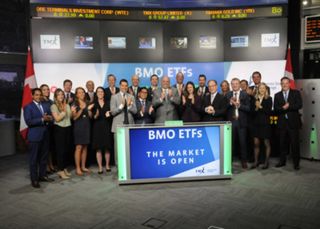 Kevin Gopaul, Head, BMO Global Asset Management Canada, and Global Head, BMO Exchange Traded Funds, joined Dani Lipkin, Business Development, Exchange Traded Funds, Closed-End Funds, and Structured Notes, TMX Group to open the market to launch BMO Low Volatility Emerging Markets Equity ETF (ZLE). BMO ETFs is a financial services company and is managed and administered by BMO Asset Management Inc. an investment fund manager and portfolio manager and separate legal entity from Bank of Montreal. BMO ETFs currently has 66 ETFs listed on the Toronto Stock Exchange with a market value of $32 billion. ZLE commenced trading on Toronto Stock Exchange on May 17, 2016. (CNW Group/TMX Group Limited)