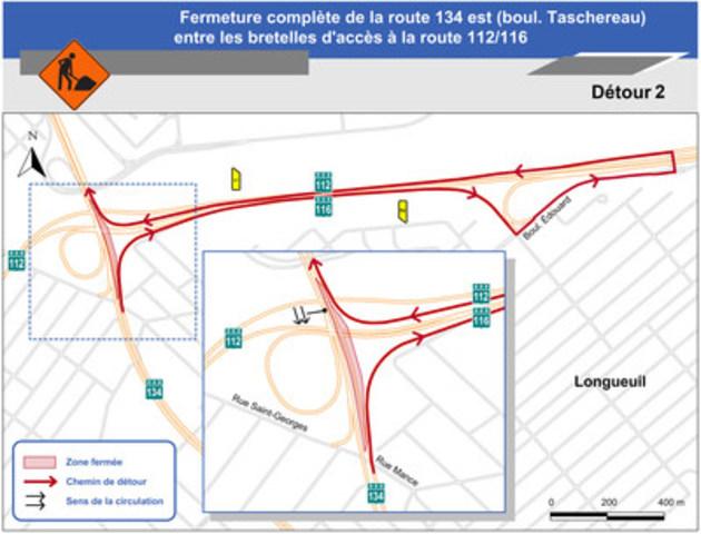 Carte illustrant le détour 2 pour la fermeture complète de la route 134 est (boul. Taschereau), à la hauteur de la route 112/116. (Groupe CNW/Ministère des Transports)