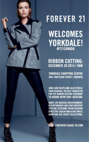 Forever 21 to Host Grand Opening Event at Yorkdale December 20th with Luke Bilyk and Alex Steele (CNW Group/Forever 21)