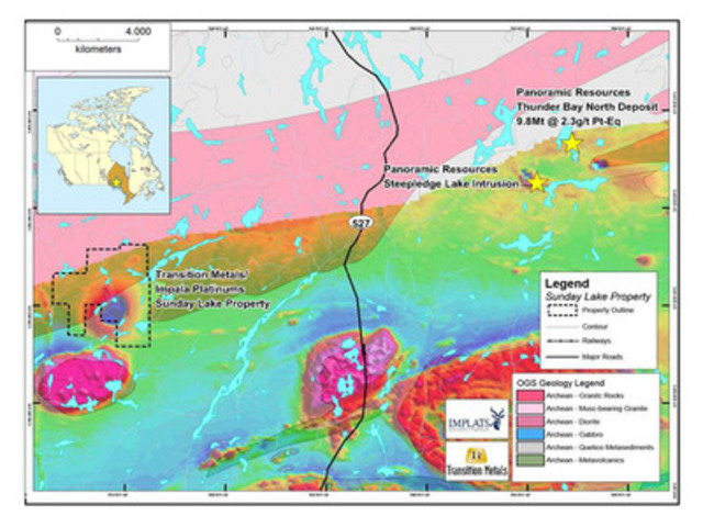 Figure 1: Location of the Sunday Lake Property, Geology, Shaded Magnetics (CNW Group/Transition Metals Corp.)