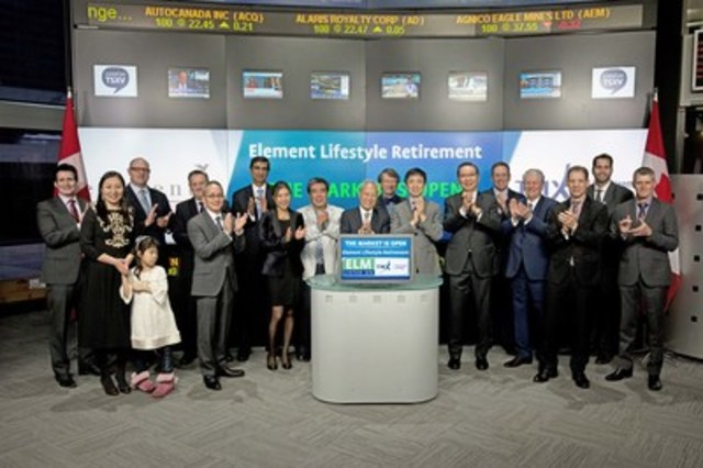 Don Ho, President, Director and Chairman, Element Lifestyle Retirement Inc.  (ELM) joined Tim Babcock, Director, Listed Issuer Services, TSX Venture Exchange to open the market. Element Lifestyle Retirement Inc.  provides development and management services for senior retirement communities. Element Lifestyle Retirement Inc. commenced trading on TSX Venture Exchange on December 4, 2015. For more information please visit www.elementlifestyleretirement.com. (CNW Group/TMX Group Limited)