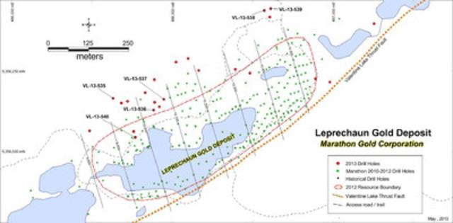 Figure 1: Location of new drill holes VL-13-535 to VL-13-540, Leprechaun Gold Deposit. (CNW Group/Marathon Gold Corporation)