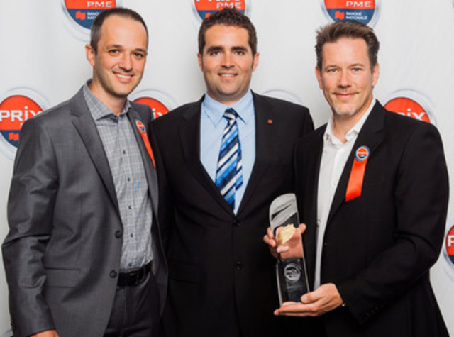 Provincial winner - SME with $10-50 million in sales. Frédéric Gamache (centre), Account Manager, National Bank, surrounded by Christian B. Fabi, Executive Vice-President, and Patrick Foley, President of Eureka Lighting. (CNW Group/National Bank of Canada)