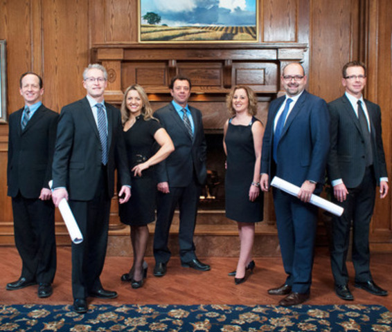 From left: Stephen Crowe, chief financial officer; Robert Zunti, executive vice-president, oil and gas; Krista Pell, vice-president, human resources and people development; Vince Polito, vice-president, commercial and EPCM operations; Shelley Nixon, director, risk and contracts; Barry Brad, president and CEO; Scott Rempel, vice-president, corporate development. Missing from photo: Scott Richards, President, Atlantic Region. (CNW Group/PROJEX Technologies Inc.)