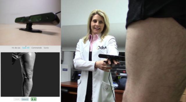Nancy Trempe orthésiste, scan 3D d'un patient, instrument de mesure et logiciel WEB-Fit par Ergoresearch. (Groupe CNW/Ergoresearch Ltd)