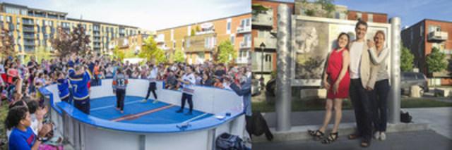 Match d'improvisation de la LNI et membres de la famille de Luc Durand (Groupe CNW/Ville de Montréal - Arrondissement de Rosemont - La Petite-Patrie)