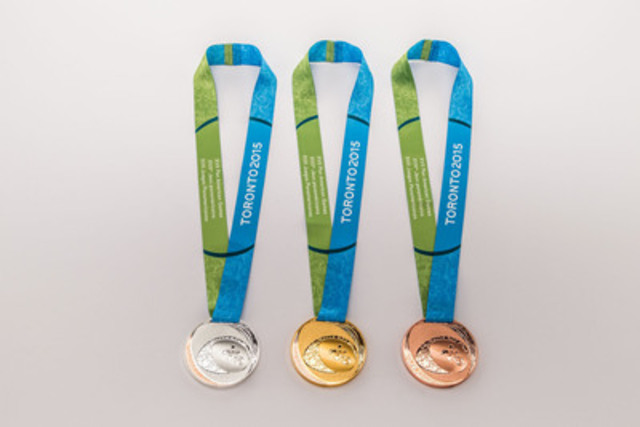 """The artwork on the medals tells the rich story of the """"?People'?s Games""""? through a beautifully layered design that expresses the values of inclusion and diversity, and highlights Aboriginal traditions of welcoming guests and cherishing the beauty of the natural world. (CNW Group/Toronto 2015 Pan/Parapan American Games)"""