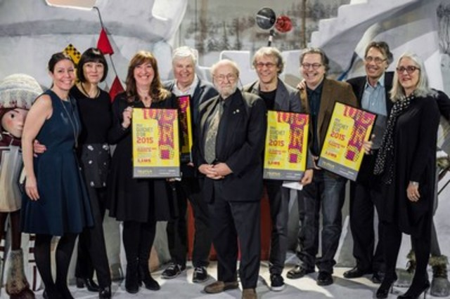 From left to right : Marie-Hélène Lamarche, Vice-President, Marketing and Promotion, Les Films Séville; Marie-France Godbout, National Director, Feature Film – French Market, Telefilm Canada; Marie-Claude Beauchamp, President CarpeDiem Film & TV; Paul Risacher, Writer, La Guerre des Tuques 3D; Rock Demers, Producer, original version of the film; Jean-François Pouliot, Director, La Guerre des Tuques 3D; François Brisson, La Guerre des Tuques 3D; Michel Pradier, Director, Project Financing, Telefilm Canada; Carolle Brabant, executive Director, Telefilm Canada. (CNW Group/Telefilm Canada)