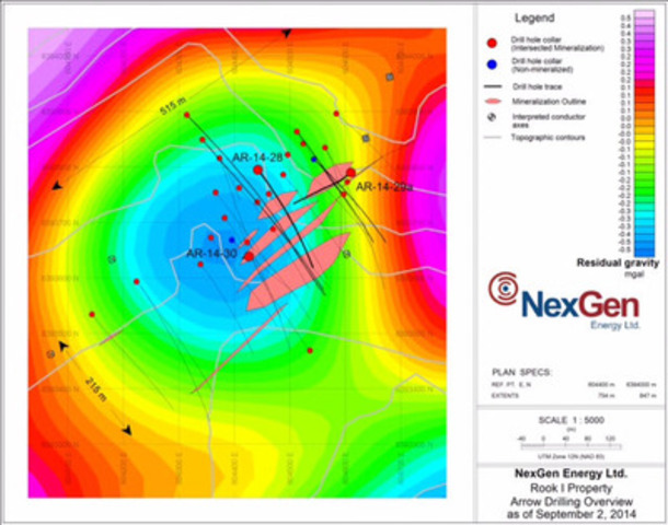 Figure 2: Arrow Zone Drill Hole Locations (gravity background) (CNW Group/NexGen Energy Ltd.)