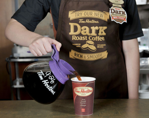 Tim Hortons announced today it will pilot a new Dark Roast coffee blend in two test markets. The new Tim Hortons Dark Roast coffee is available at participating Tim Hortons locations in Columbus, Ohio starting today and will be available at participating Tim Hortons restaurants in London, Ontario, starting November 4 (CNW Group/Tim Hortons)