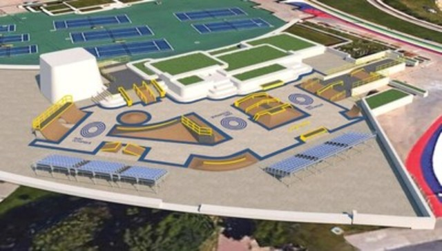 Le nouveau parc à planche permanent, de style « skate plaza », qui sera érigé sur l'Esplanade du Parc olympique à l'été 2017. (Groupe CNW/Parc olympique)