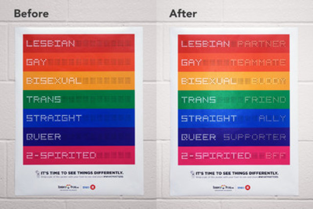 Toronto Pflag's interactive poster will start appearing in TDSB middle and high schools this week. (CNW ...