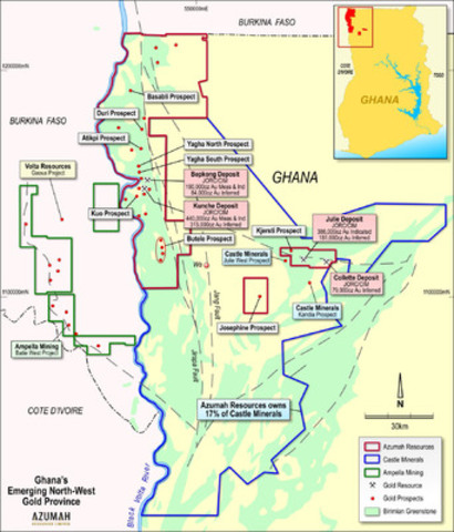 Figure 1: Wa Gold Project - Key Deposits and Prospects (CNW Group/Azumah Resources Inc)