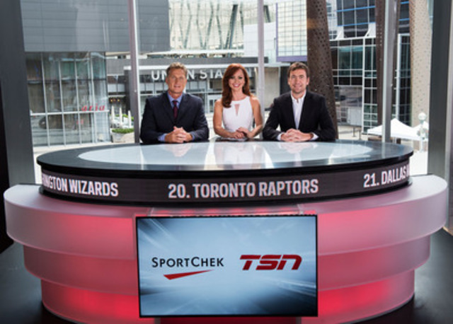 SPORTSCENTRE anchors Leo Rautins, Kate Beirness, and Frederick Lecoq, SVP Marketing for FGL Sports stand alongside the new Sport Chek and TSN live broadcast studio inside the Sport Chek store at Maple Leaf Square. (CNW Group/FGL Sports Ltd.)