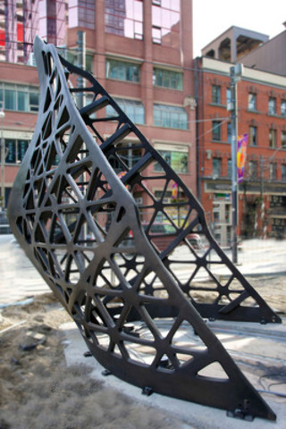 Ballast, the five-metre tall bronze sculpture by Canadian artist Jed Lind, is prominently displayed in the public courtyard at the base of Great Gulf's Charlie Condos (at King Street West and Charlotte in downtown Toronto). (CNW Group/Great Gulf)