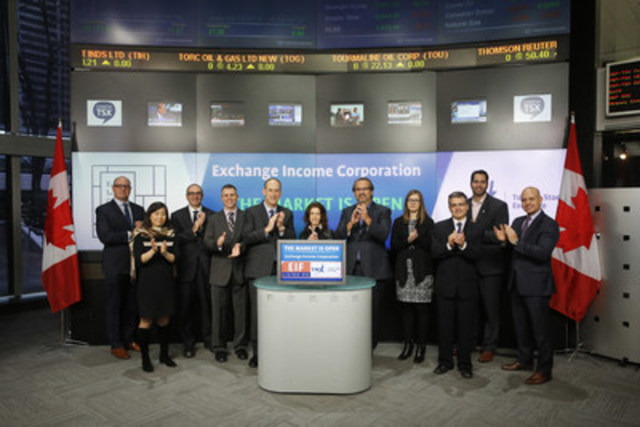 Mike Pyle, Chief Executive Officer, Exchange Income Corporation (EIF), joined Loui Anastasopoulos, Vice President, TSX Company Services, Toronto Stock Exchange & TSX Venture Exchange to open the market to celebrate 8 years as a Toronto Stock Exchange listed company. Exchange Income Corporation is a diversified acquisition-oriented company, focused in two sectors: aviation services and equipment, and manufacturing. Exchange Income Corporation commenced trading on Toronto Stock Exchange on March 17, 2008. For more information, please visit www.ExchangeIncomeCorp.ca. (CNW Group/TMX Group Limited)