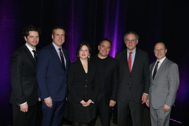 Louis Vachon of National Bank and Michel Leblanc of BTMM; Chloé Fleurant of McCarthy Tétrault and Ugo Dionne of Bénévoles d'affaires; Luis Angarita of CD&I Associés and Jan-Fryderyk Pleszczynski of Conseil des arts de Montréal; Brian M. Levitt of Osler and Jan-Fryderyk Pleszczynski of Conseil des arts de Montréal; Jan-Fryderyk Pleszczynski of Conseil des arts de Montréal, Éric Bujold of National Bank , Chloé Fleurant of McCarthy Tétrault, Luis Angarita of CD&I Associés, Brian M. Levitt of Osler, Michel Leblanc of BTMM. (CNW Group/Board of Trade of Metropolitan Montreal)