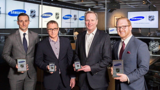 Caption - Pictured (Left to Right): David Lehanski, NHL Senior Vice President, Integrated Sales; Paul Brannen, Samsung Canada Executive Vice President, Mobile Solutions; Philippe Lozier, Samsung Canada Director, Content and Services; and John Pacino, NHL Vice President, Product Development and Social Media; outside the NHL Situation Room in Toronto, ON. (CNW Group/Samsung Electronics Canada)
