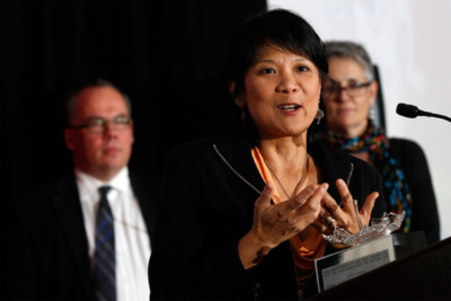 Olivia Chow speaks to a crowd of about 300 as she accepts an award on behalf of Jack Layton at the Parliamentarians of the Year awards Monday night in Ottawa. The Parliamentarian Awards are presented by Maclean's and L'actualité magazines. (CNW Group/Maclean's Magazine)