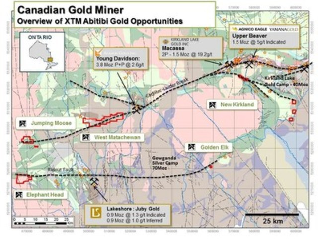 Figure 1. Canadian Gold Miner Property Location Map (CNW Group/Transition Metals Corp.)