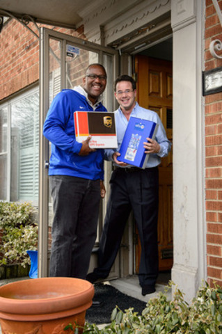 Legendary Blue Jay Joe Carter returns to Toronto surprising a fan with season ticket delivery from UPS (CNW Group/UPS Canada Ltd.)