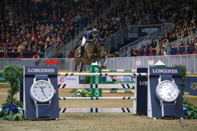 Mclain Ward of the United States riding HH Azur won the $75,000 Big Ben Challenge, presented by Hudson's Bay Company, to close out international show jumping competition on Saturday night, November 14, at the Royal Horse Show® in Toronto, ON. (CNW Group/Royal Agricultural Winter Fair)