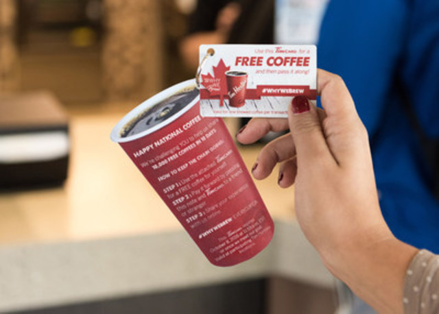 Today, to celebrate National Coffee Day and the generosity of Canadians, Tim Hortons® will release 100 limited-edition Tim Cards across the country, creating a pay-it-forward chain to share at least 10,000 cups of coffee in 10 days. (CNW Group/Tim Hortons)