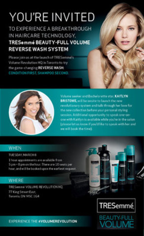 Kaitlyn Bristowe lands in Toronto to launch the TRESemmé brand's NEW Beauty-Full Volume Reverse Wash System (CNW Group/TRESemmé)