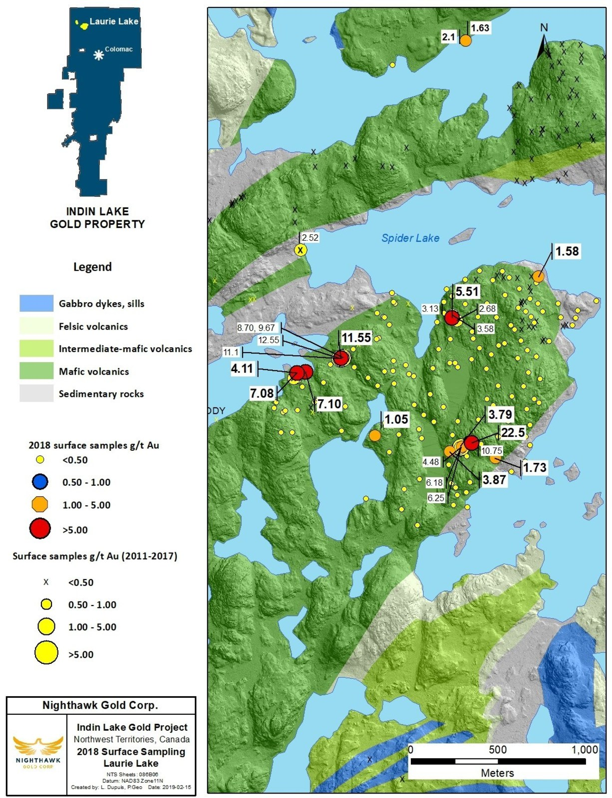 Figure 5. Laurie Lake Location Map and Select Surface Sample Results