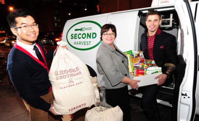 Singer-Songwriter Jesse Giddings (far right) teams up with the Brooks Brothers Flatiron Shop in Toronto for a holiday season food drive benefitting Second Harvest (CNW Group/Brooks Brothers)