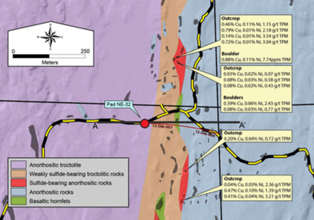 Figure 2a - Geologic map of the East Shore area (CNW Group/Duluth Metals Limited)