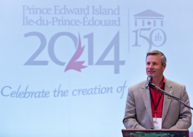 PEI Tourism and Culture Minister, Robert Henderson, welcomes Moncton's media and special guests to PEI 2014's Island Roadshow: Celebrating the Birthplace of Confederation, for the unveiling of the official PEI 2014 Celebration Calendar. With more than 150 on-Island events and activities, the year-long celebration will commemorate the 150th anniversary of the historic Charlottetown Conference. (CNW Group/Prince Edward Island 2014 Inc.)