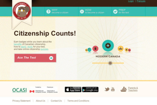 CitizenshipCounts.ca is a new website that helps young people study for the Canadian citizenship test and learn about being a Canadian citizen. (CNW Group/Ontario Council of Agencies Serving Immigrants - OCASI)