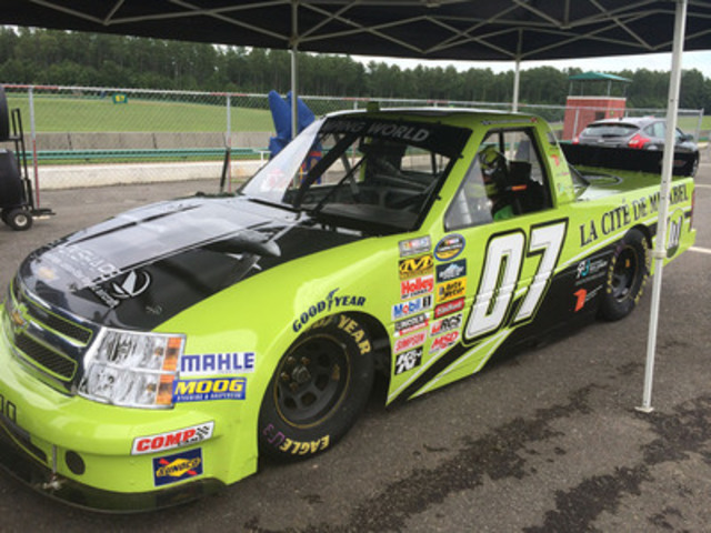 """After his 12th place finish at the Grand Prix de Trois-Rivieres, Ray Jr. headed directly for southern Virginia where he tested a NCWTS truck at the """"Virginia International Raceway"""" road course.  (CNW Group/La Cité de Mirabel inc)"""