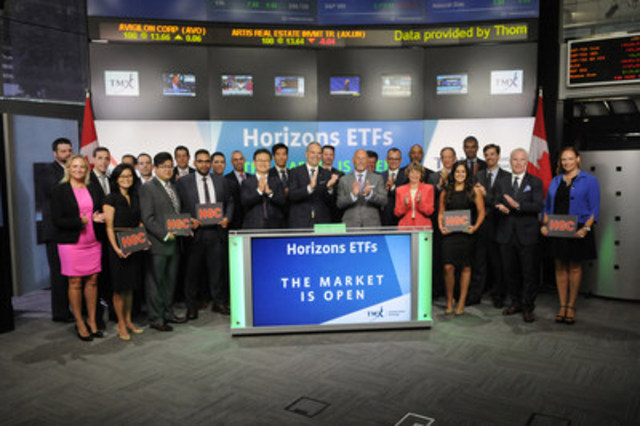 Steve Hawkins, President & Co-CEO, Horizons ETFs, alongside David Scandiffio, President & CEO, CIBC Asset Management, joined Ungad Chadda, President, Capital Formation, Equity Capital Markets, TMX Group to open the market to launch Horizons Global Currency Opportunities ETF (HGC). Horizons ETFs is a financial services company and a subsidiary of the Mirae Asset Financial Group. Horizons ETFs currently has 74 ETFs listed on the Toronto Stock Exchange with a market value of $6 billion. HGC commenced trading on Toronto Stock Exchange on July 19, 2016. (CNW Group/TMX Group Limited)