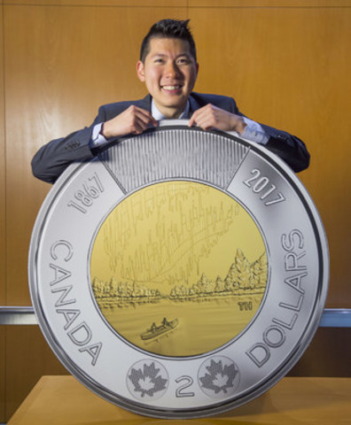 The Royal Canadian Mint revealed the winning designs for the Canada 150 circulation coins on November 2, 2016. Timothy Hsia of Richmond, British Columbia designed the two-dollar coin called Dance of the Spirits. All five Canada 150 coin denominations will enter circulation in the spring of 2017. (CNW Group/Royal Canadian Mint)